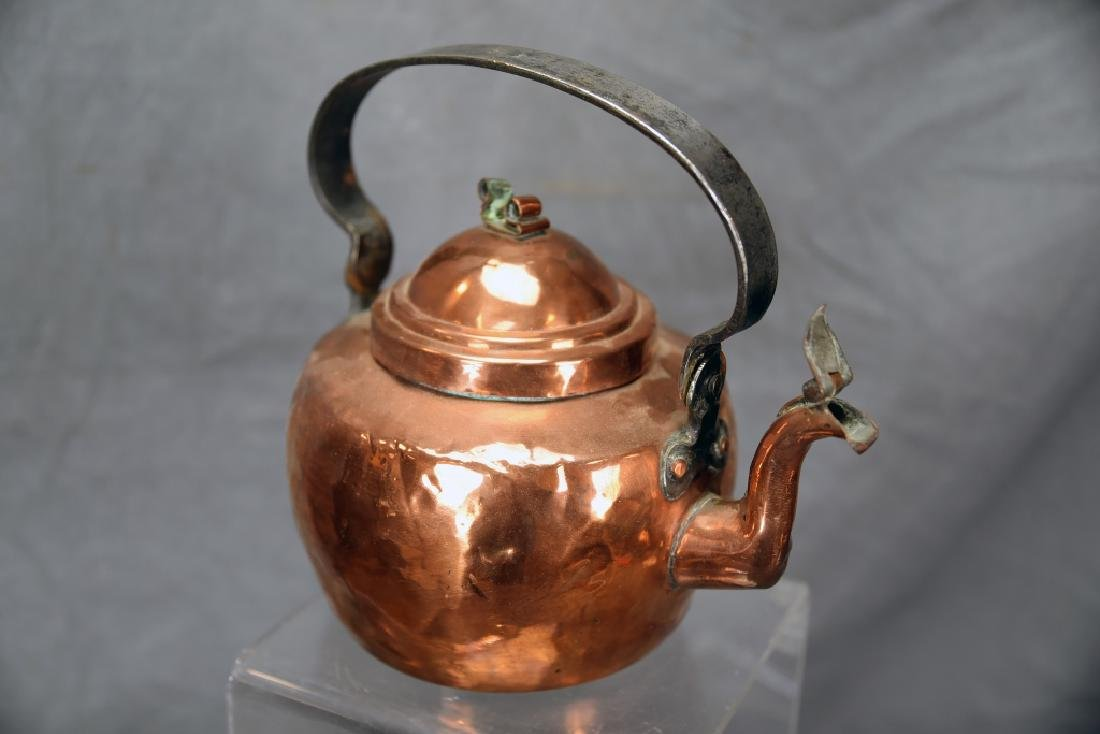 Copper 2 Handled Pan and Hand Made Copper Kettle - 8