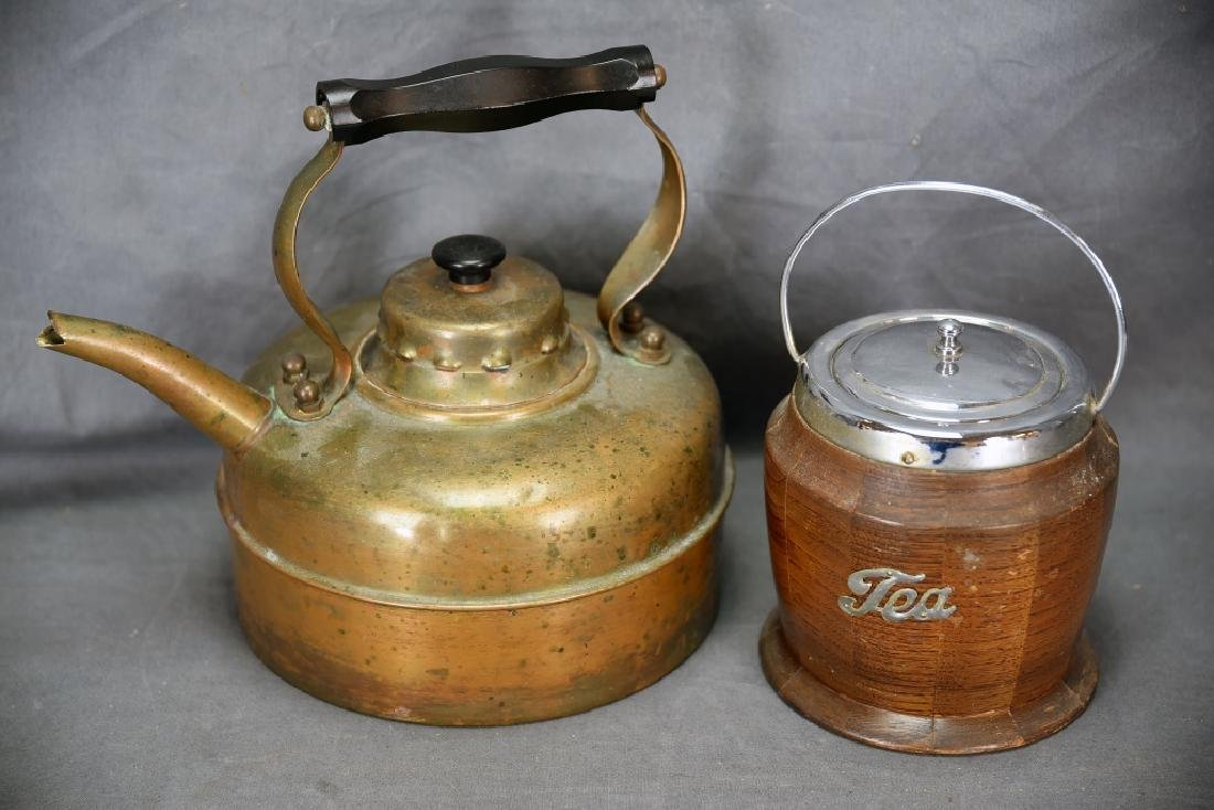 English Copper Tea Kettle and A Wooden Tea Caddy
