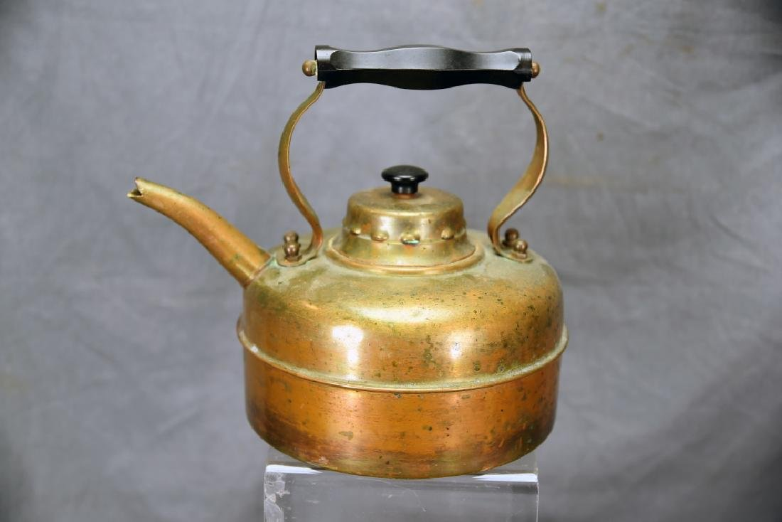 English Copper Tea Kettle and A Wooden Tea Caddy - 2