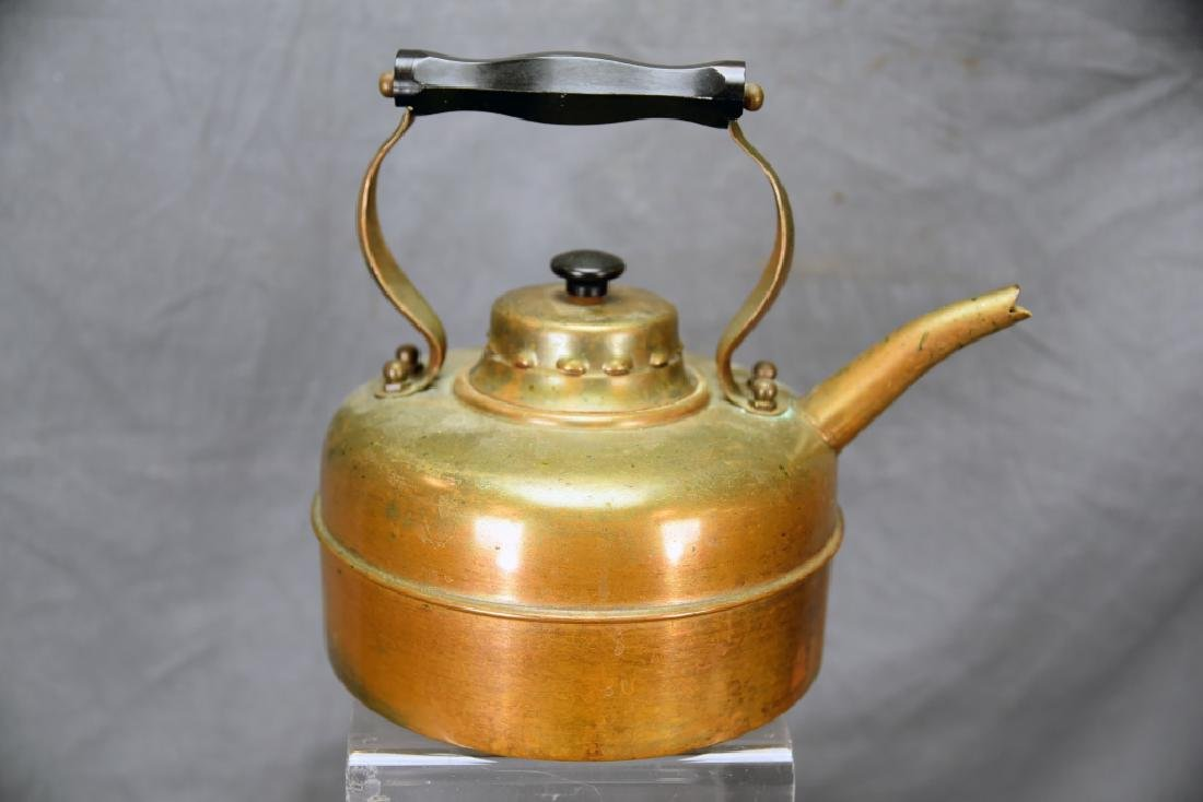 English Copper Tea Kettle and A Wooden Tea Caddy - 3