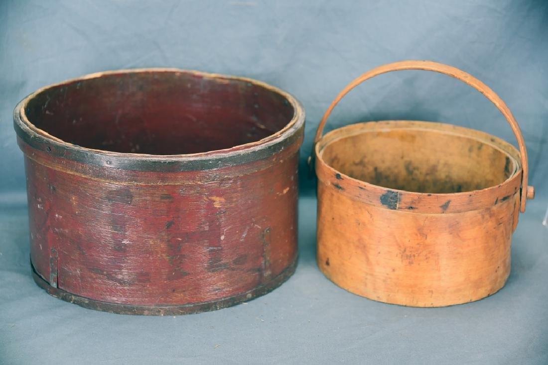 2 Round Bent Wood Boxes