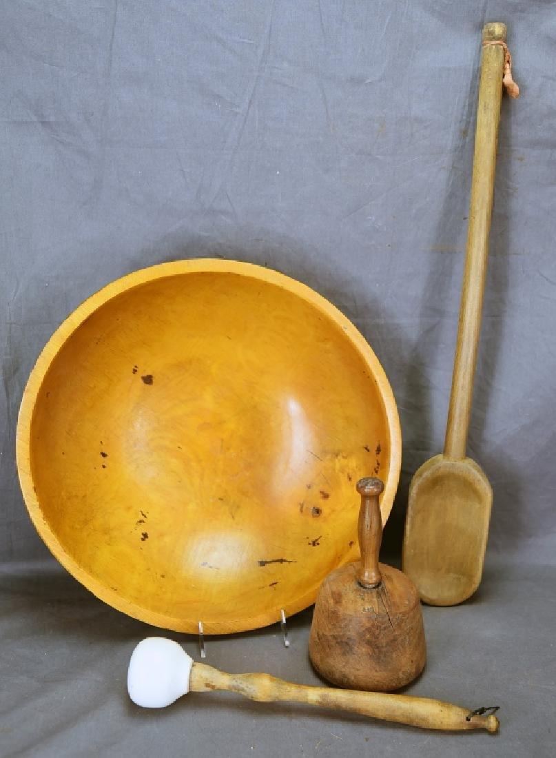 Wooden Ware Large Turned Maple Bowl, Mashers…