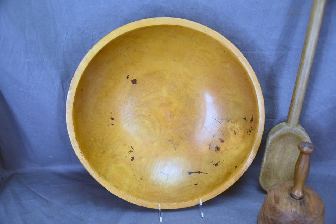 Wooden Ware Large Turned Maple Bowl, Mashers… - 2
