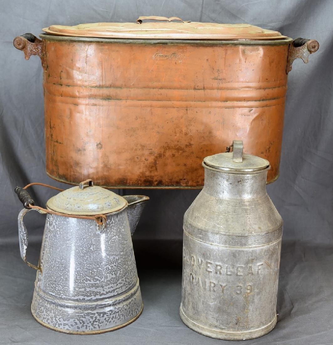 Copper Boiler, Cloverleaf Dairy Cream Can