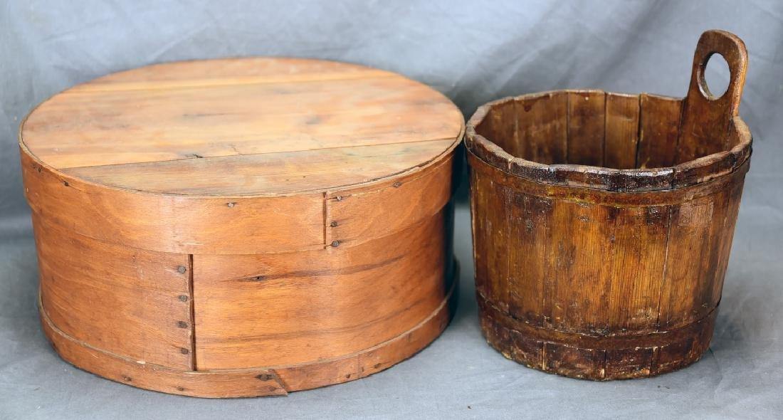 Antique Staved Piggin Bucket, Wooden Cheese Box