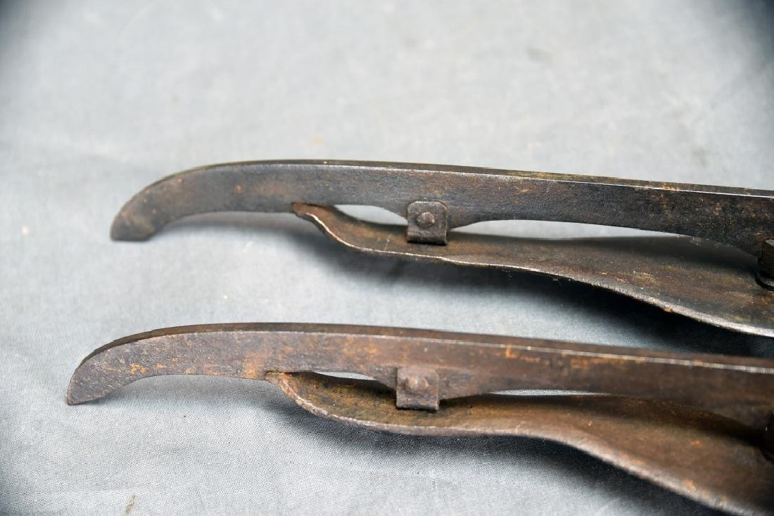2 Pair 19th C Iron Ice Skates - 5