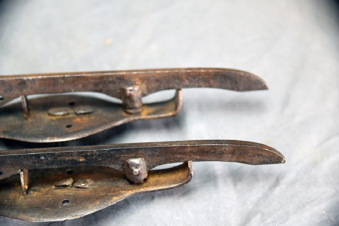 2 Pair 19th C Iron Ice Skates - 8