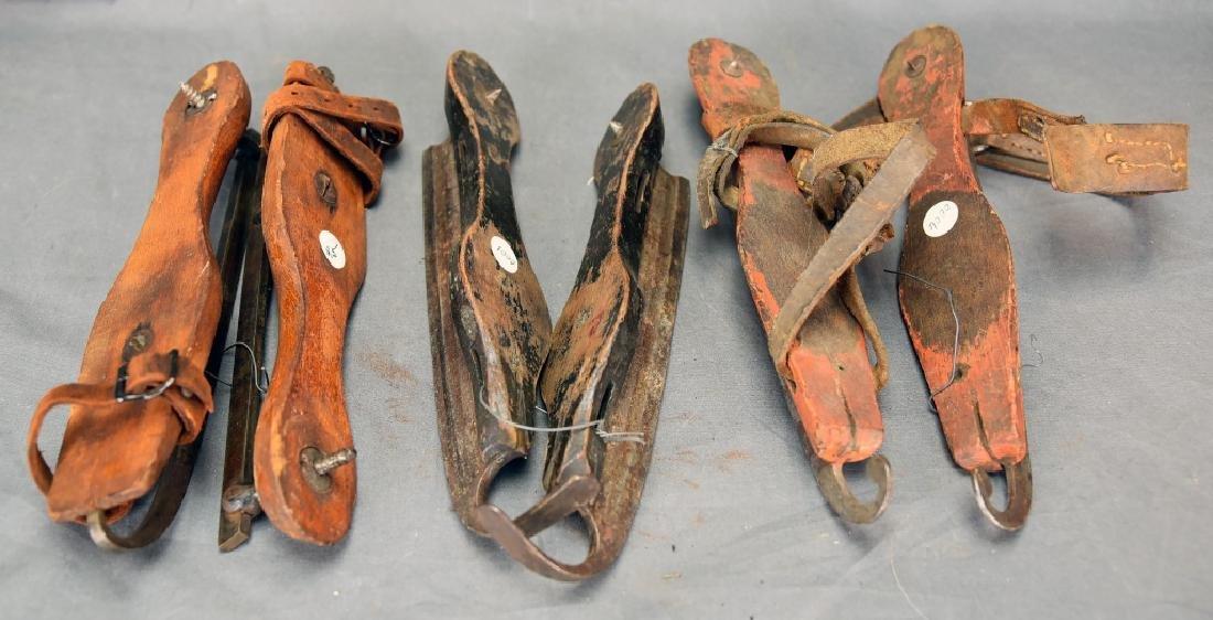 3 Pairs Antique Wood & Steel Ice Skates