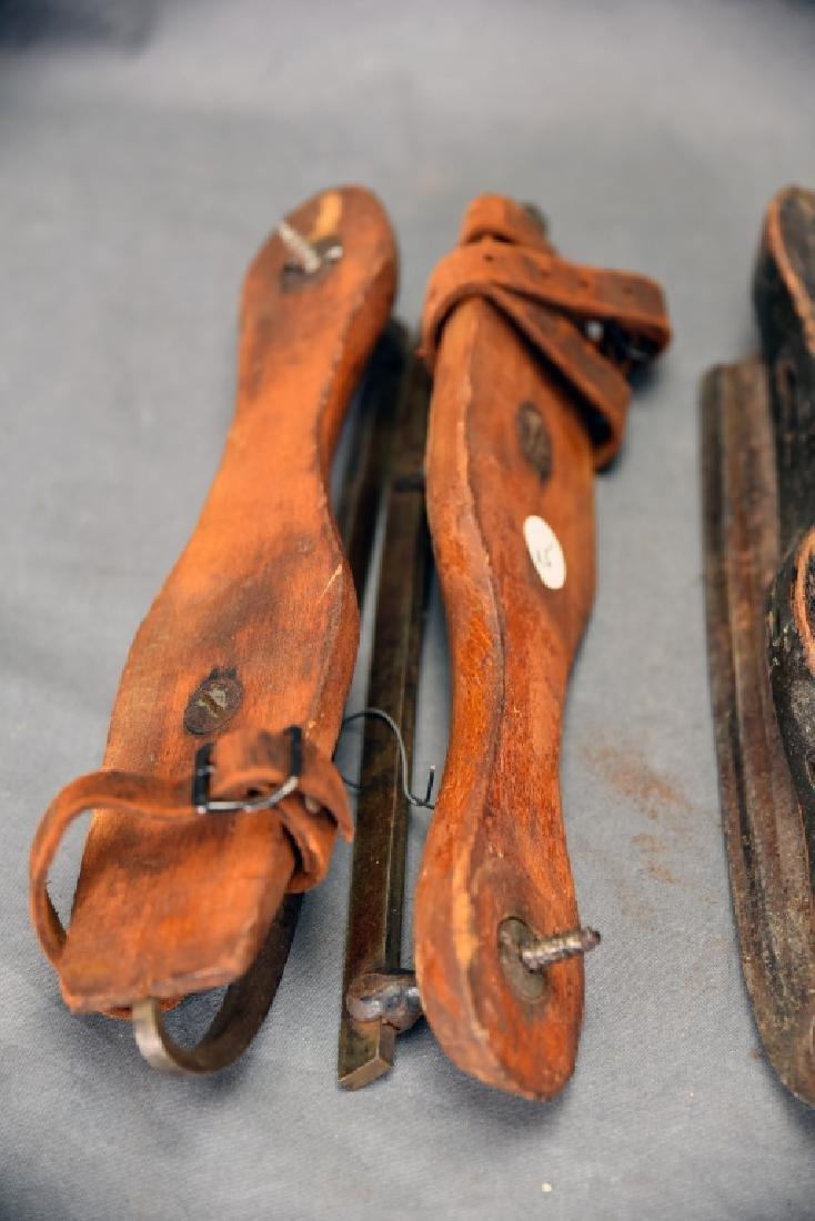 3 Pairs Antique Wood & Steel Ice Skates - 2