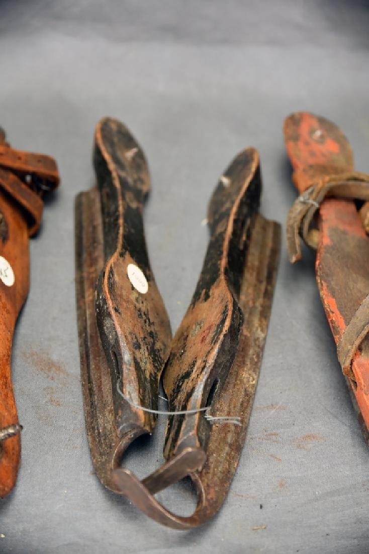 3 Pairs Antique Wood & Steel Ice Skates - 3