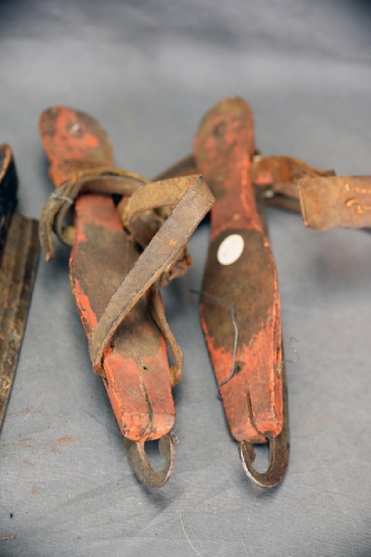 3 Pairs Antique Wood & Steel Ice Skates - 4