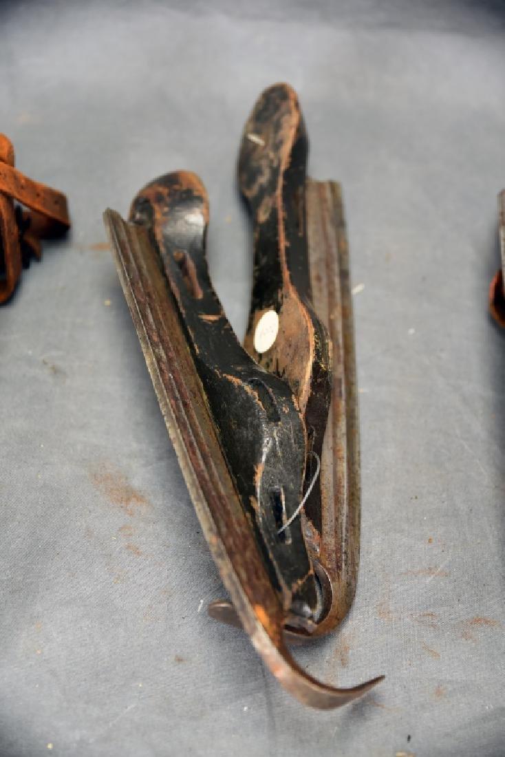3 Pairs Antique Wood & Steel Ice Skates - 6