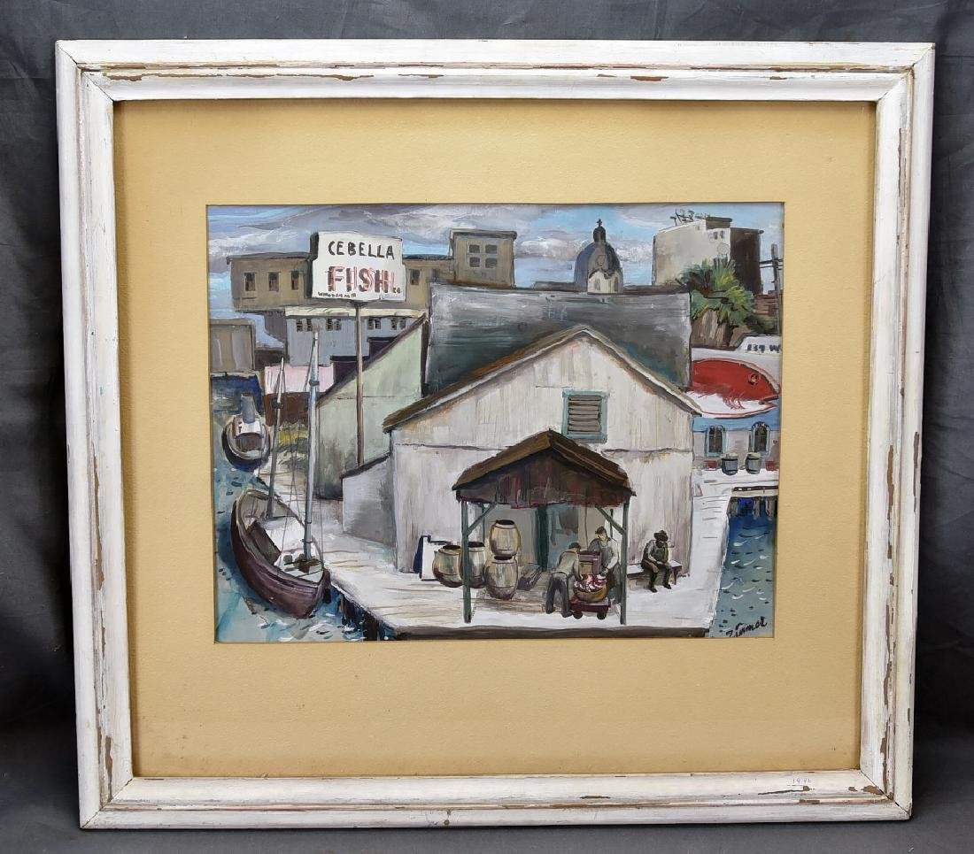 Fred Zimmer Fish Docks Watercolor