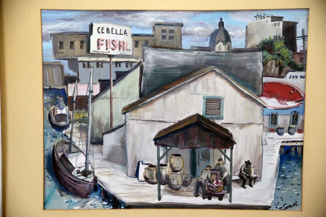 Fred Zimmer Fish Docks Watercolor - 2