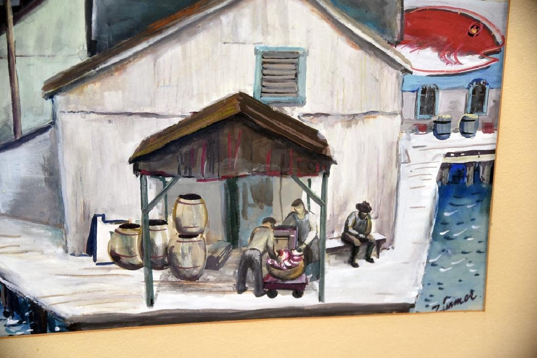 Fred Zimmer Fish Docks Watercolor - 8