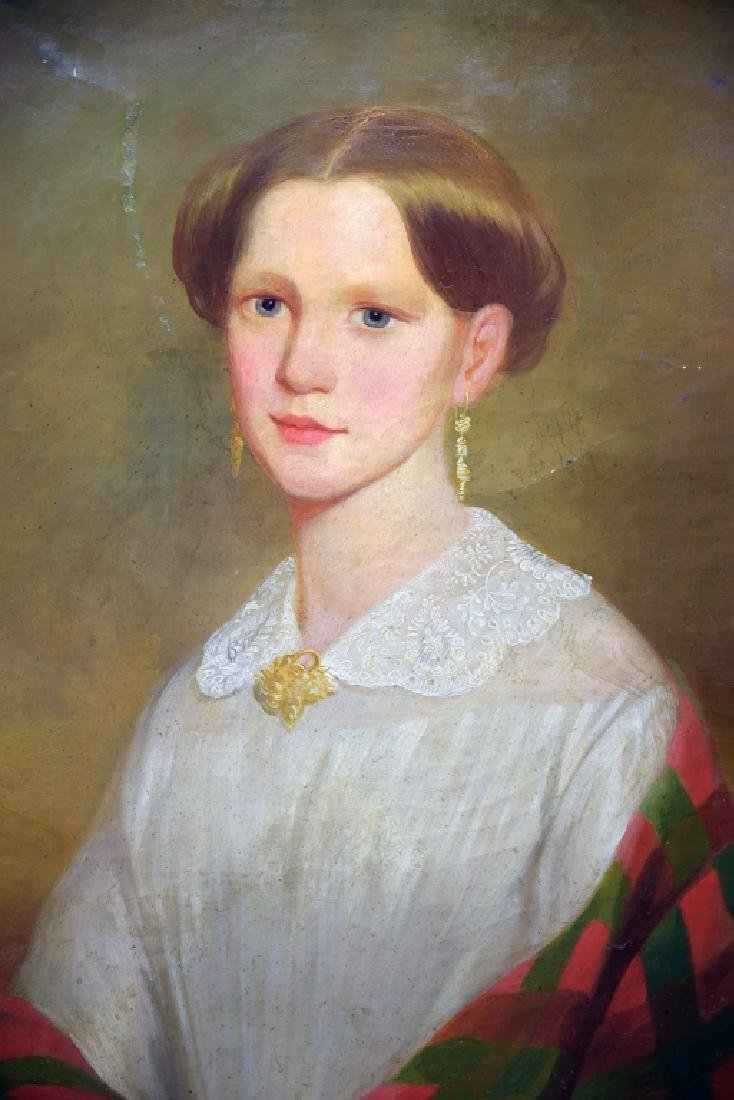 19th Century Oil on Canvas Portrait of a Woman - 4