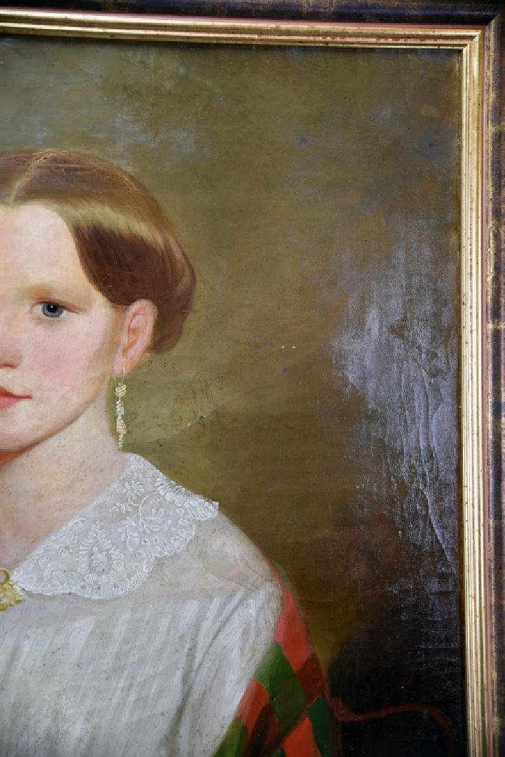 19th Century Oil on Canvas Portrait of a Woman - 7