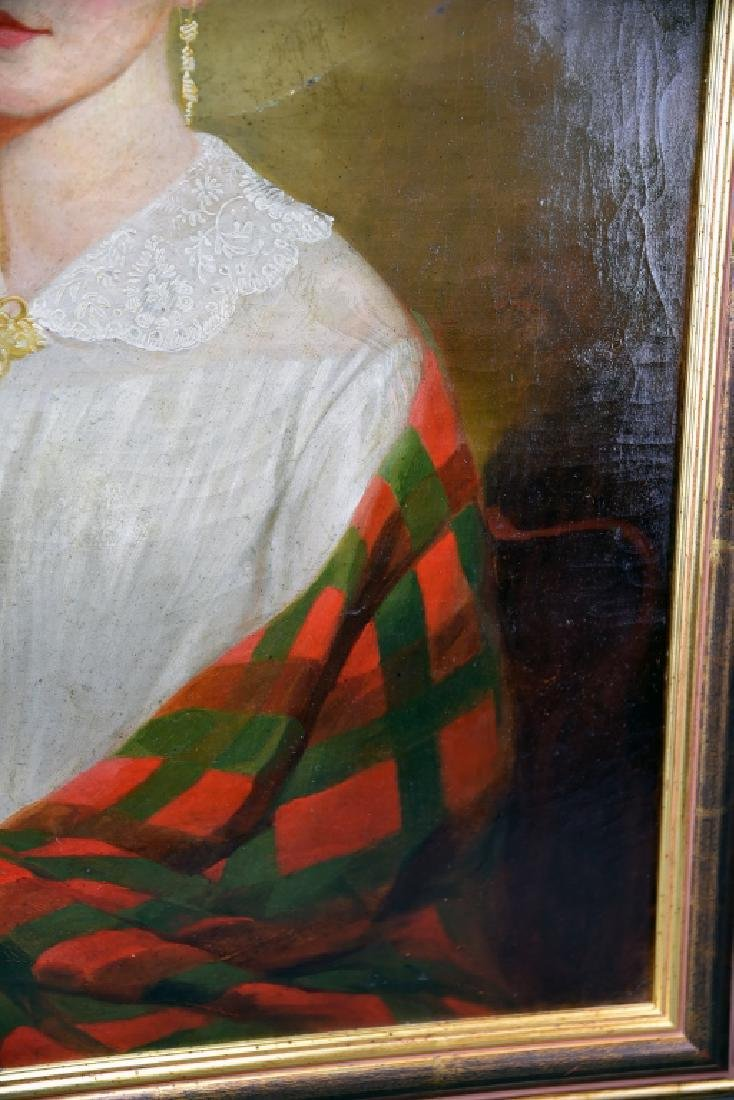 19th Century Oil on Canvas Portrait of a Woman - 8