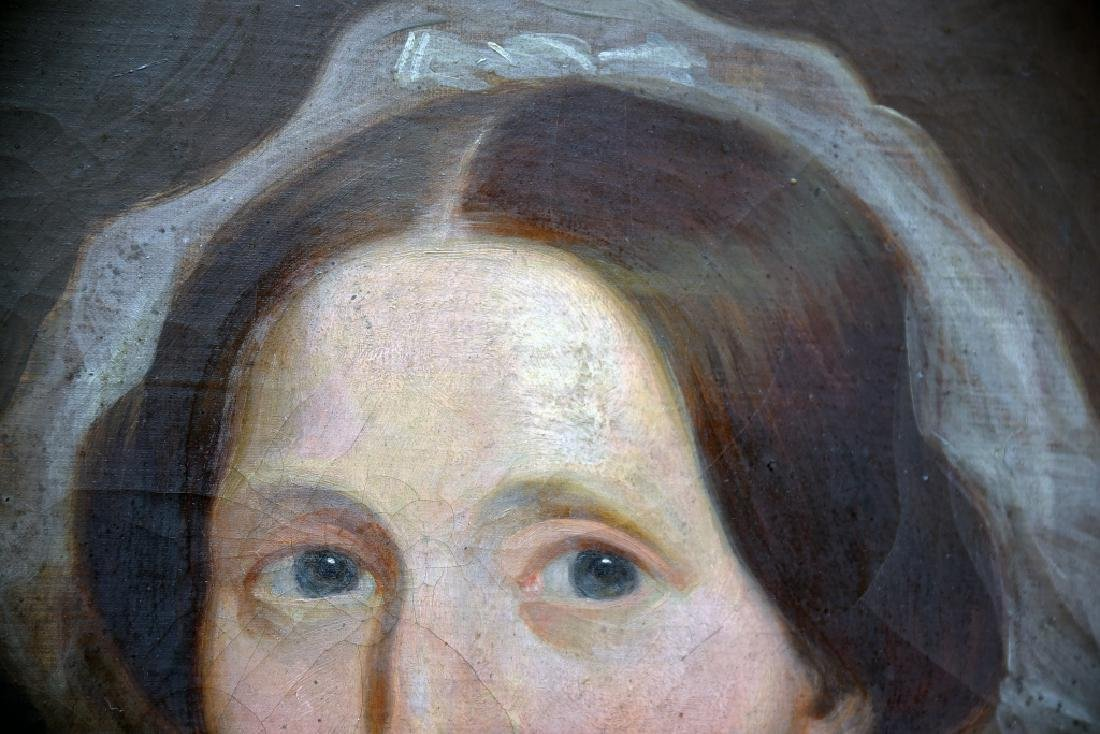19th Century Oil on Canvas Portrait of a Woman - 10