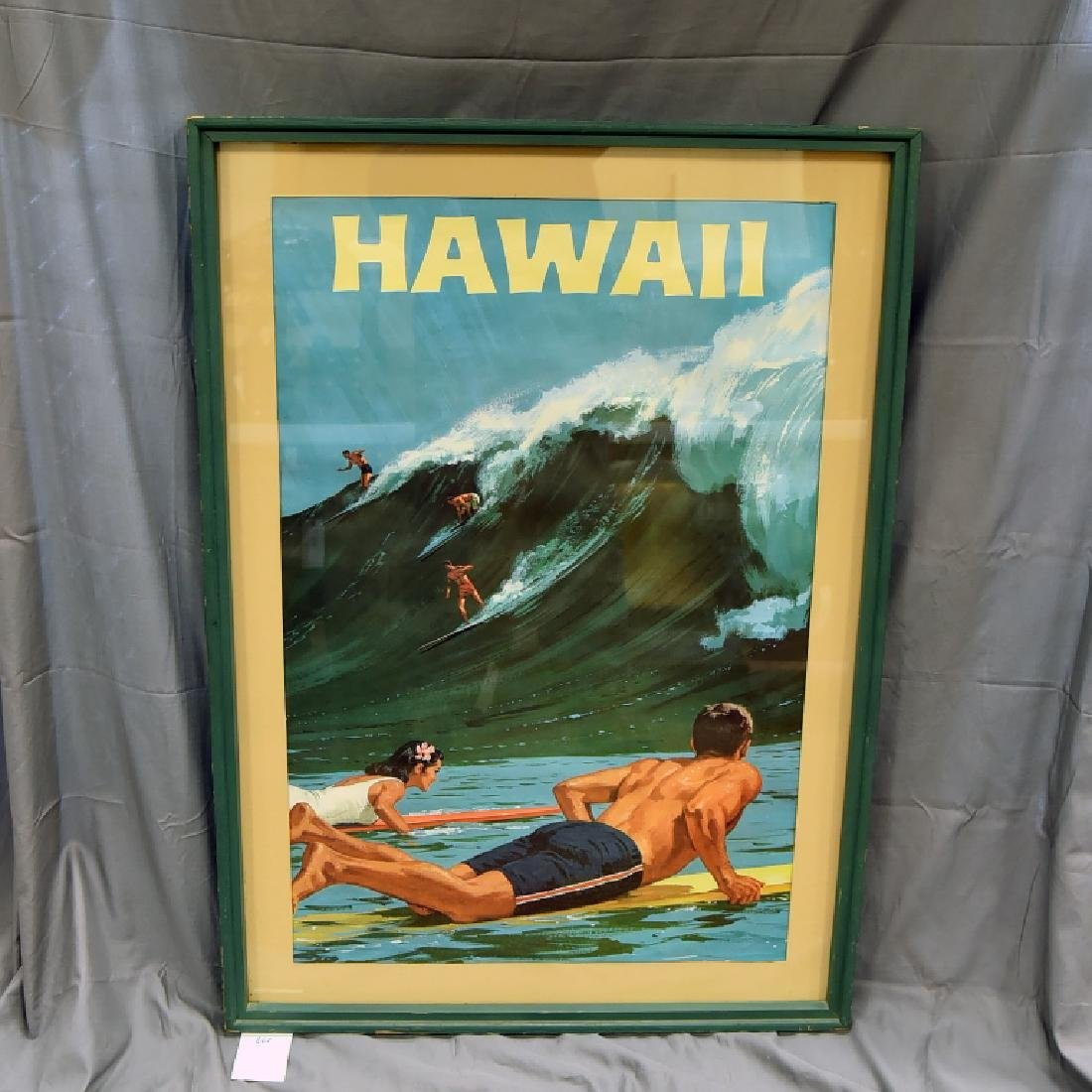 Vintage Chas. Allen Surfing Hawaii Travel Poster