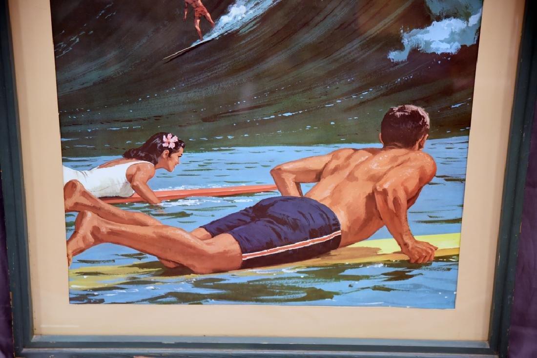 Vintage Chas. Allen Surfing Hawaii Travel Poster - 4