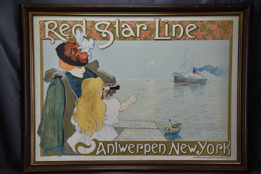 Vintage Art Nouveau Red Star Line Poster