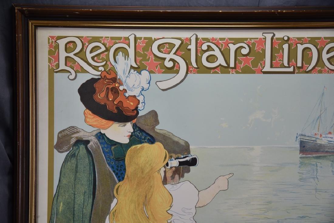 Vintage Art Nouveau Red Star Line Poster - 2