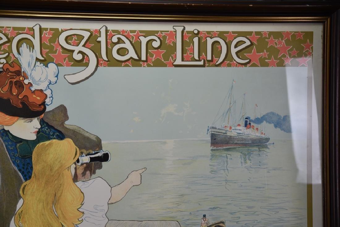 Vintage Art Nouveau Red Star Line Poster - 4