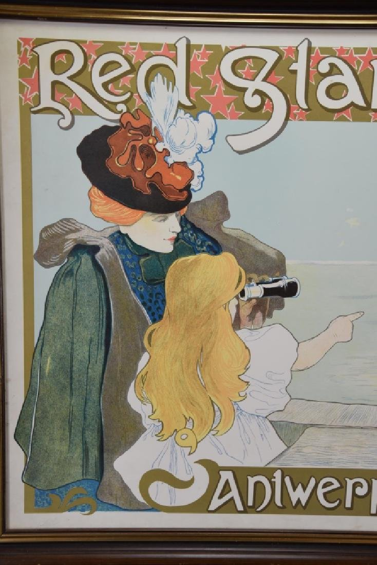 Vintage Art Nouveau Red Star Line Poster - 6