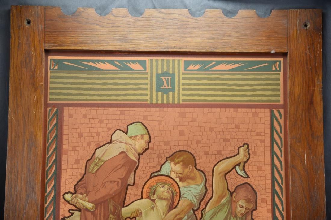 Vintage Station of the Cross Printed on Metal - 2