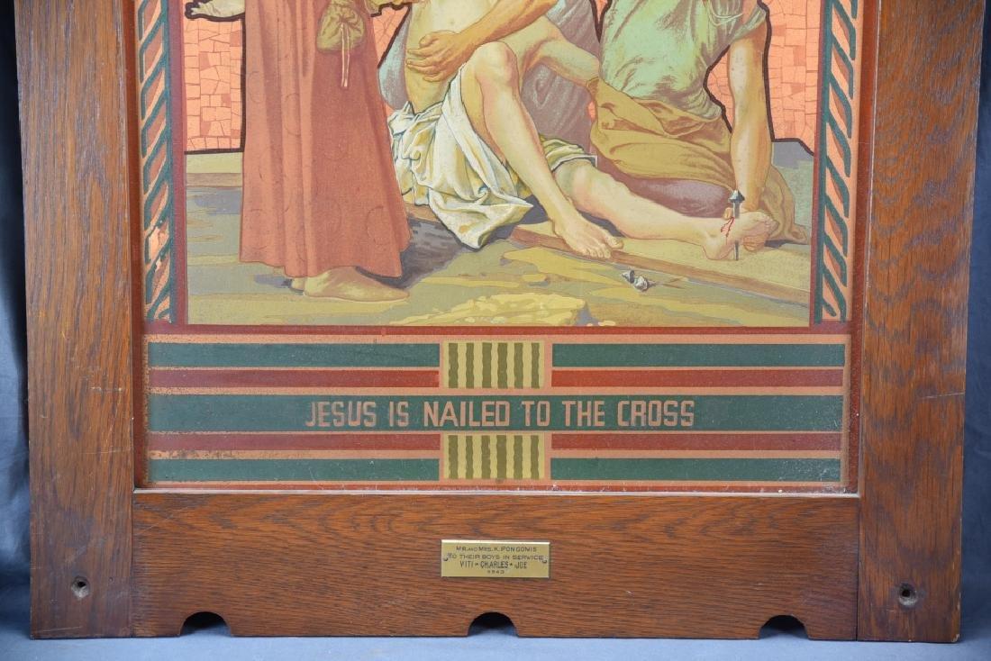 Vintage Station of the Cross Printed on Metal - 4