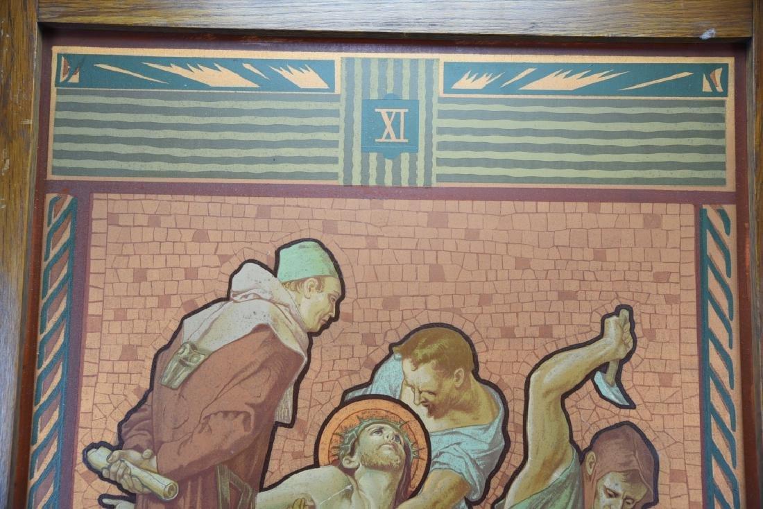 Vintage Station of the Cross Printed on Metal - 7