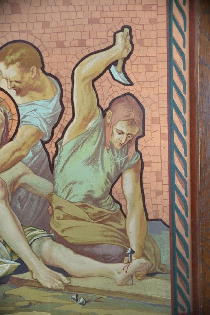Vintage Station of the Cross Printed on Metal - 9