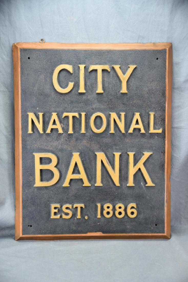 City National Bank Sign, Bronze Letters