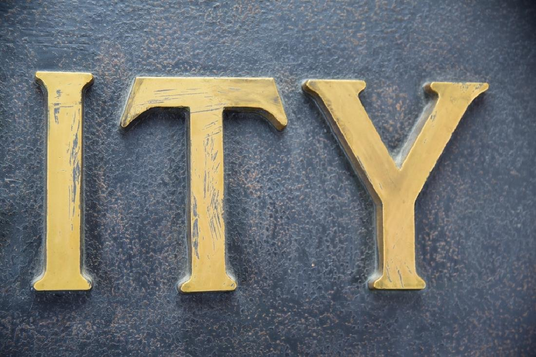 City National Bank Sign, Bronze Letters - 7
