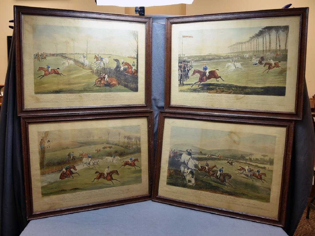 Set of 19th C Steeplechase Hand Colored Engravings