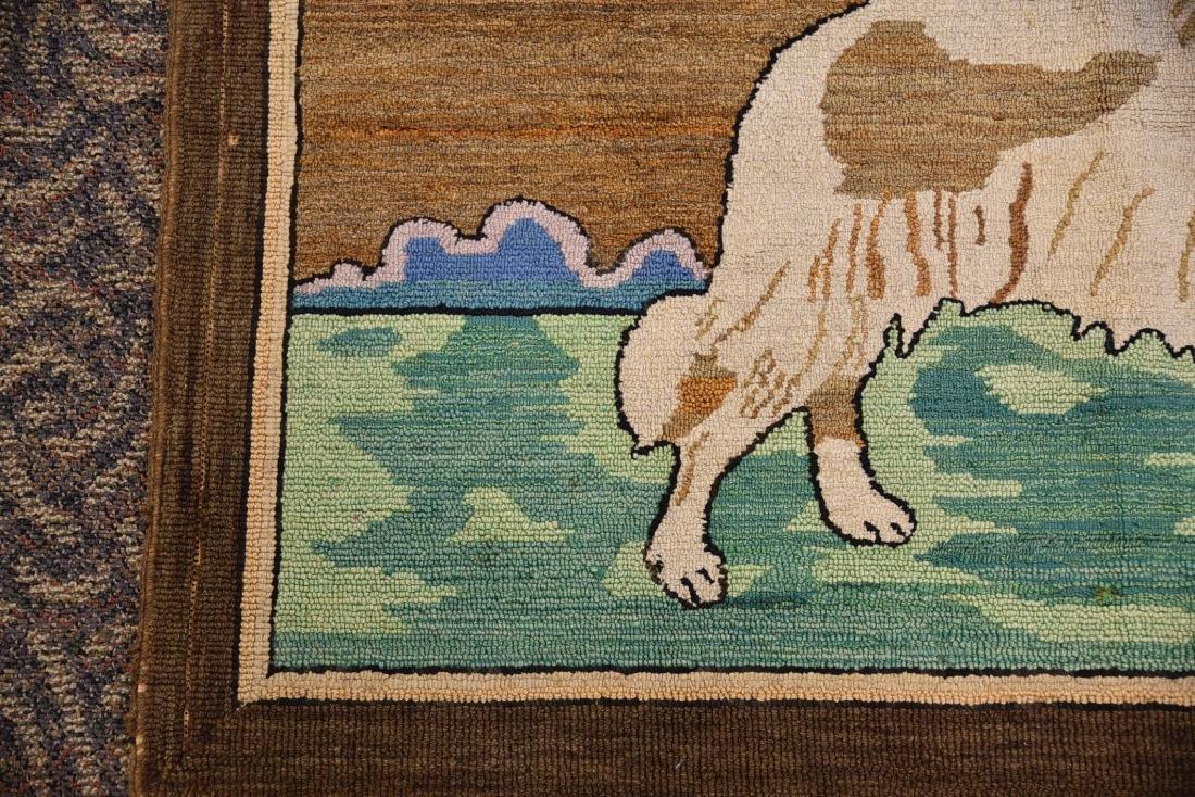 Vintage Collie Folk Art Hooked Rug - 4