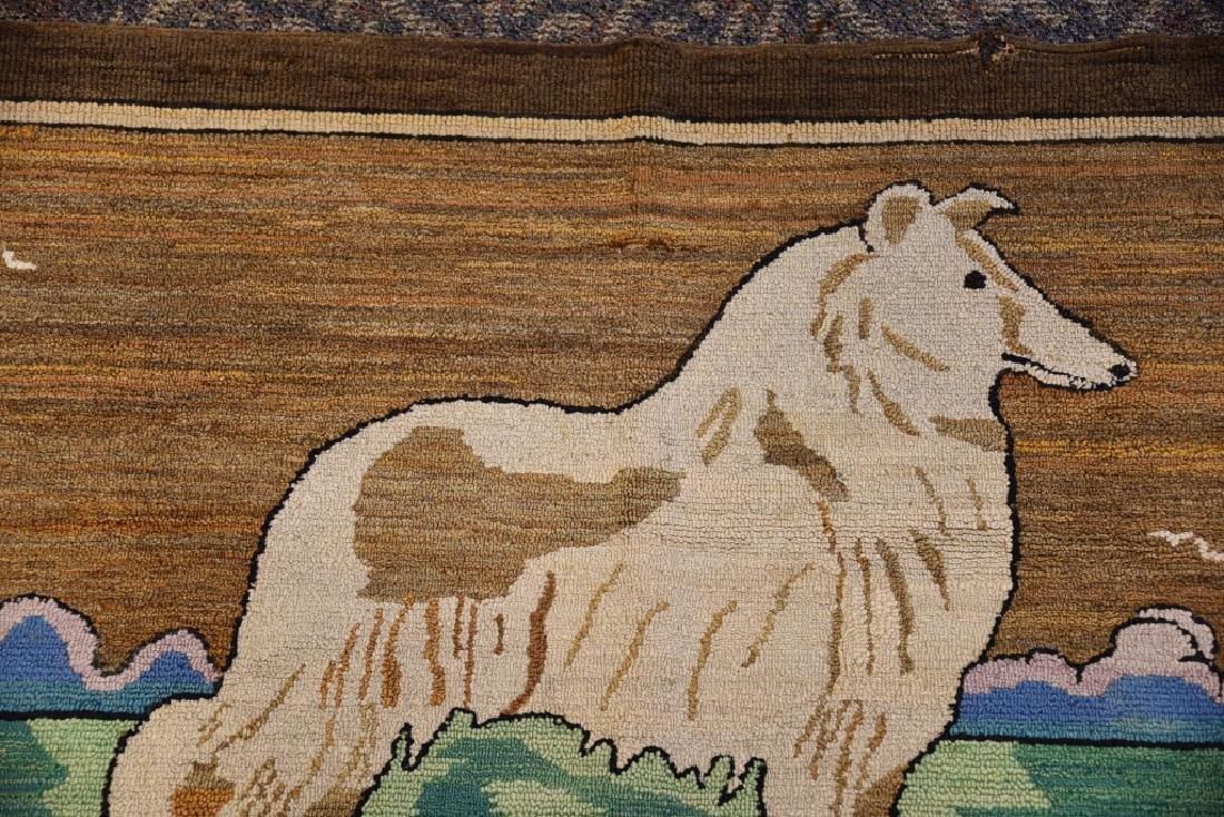 Vintage Collie Folk Art Hooked Rug - 5