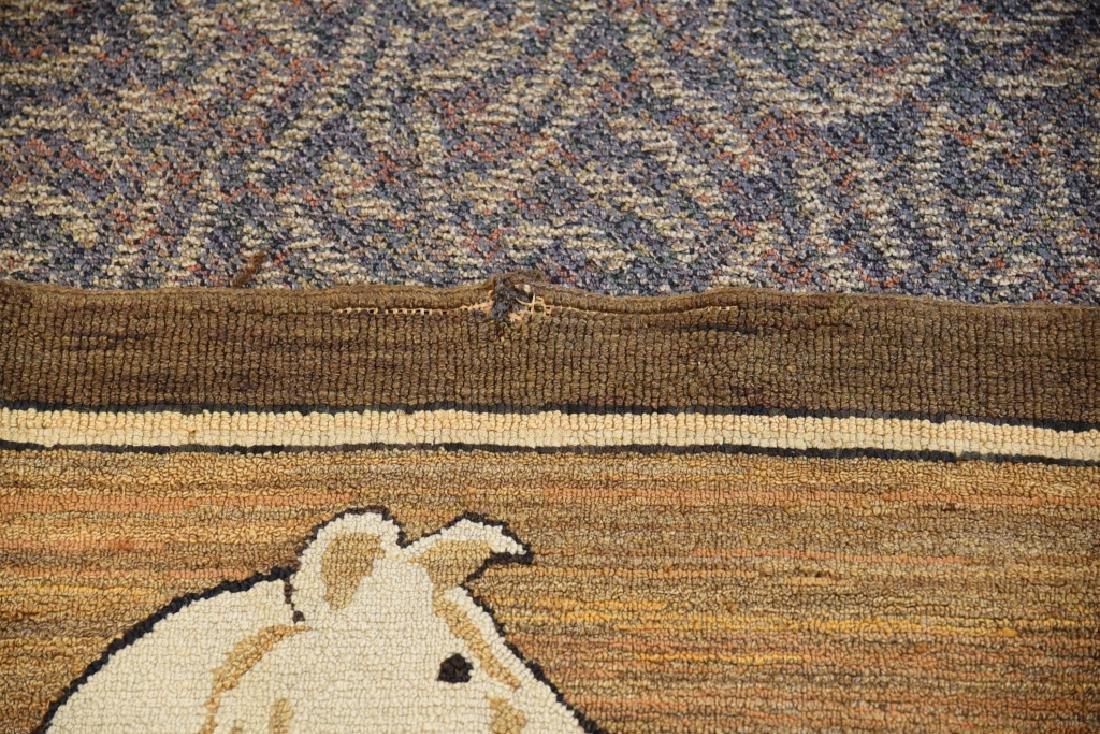 Vintage Collie Folk Art Hooked Rug - 7