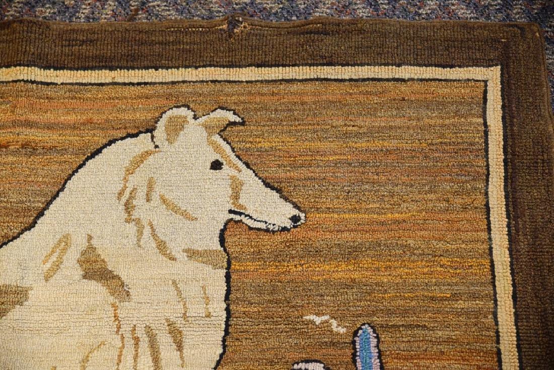 Vintage Collie Folk Art Hooked Rug - 8