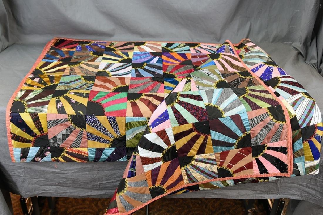 Victorian Silk Fan Crazy Quilt
