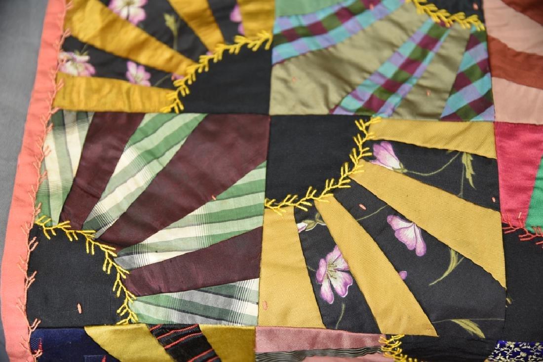 Victorian Silk Fan Crazy Quilt - 4