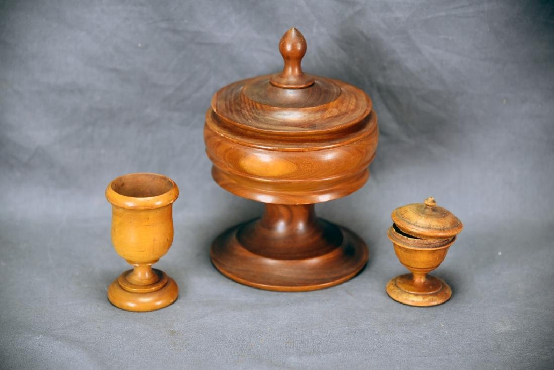 3 Pieces of Early Treen Ware