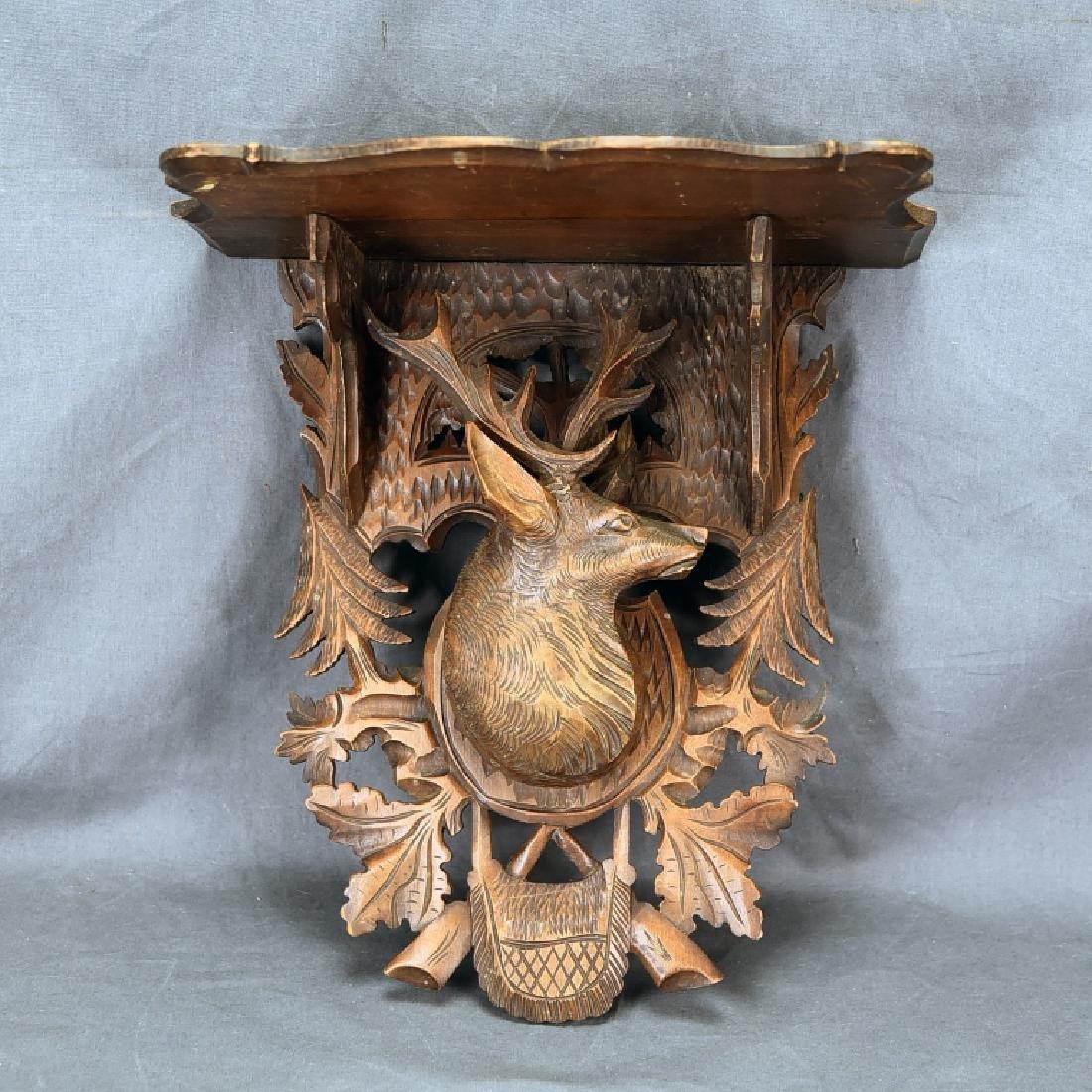 Black Forest Carved Shelf, Deers Head Decoration