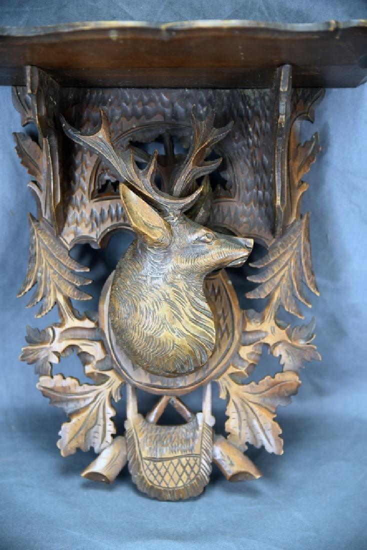 Black Forest Carved Shelf, Deers Head Decoration - 2