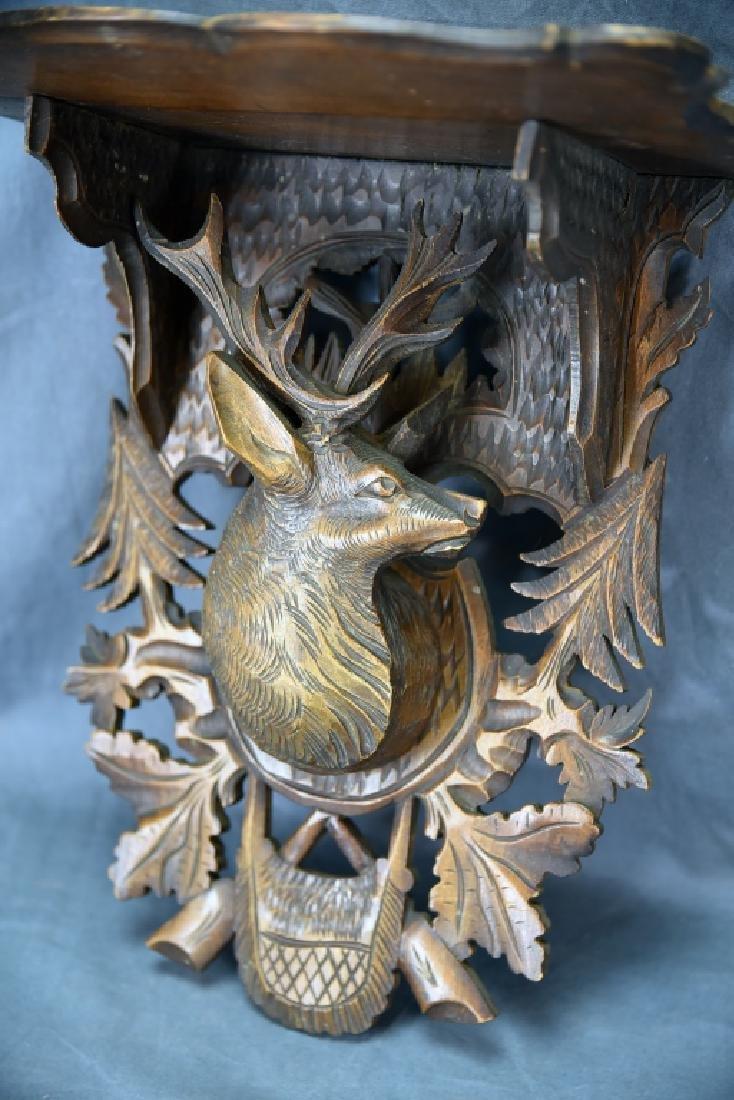 Black Forest Carved Shelf, Deers Head Decoration - 3