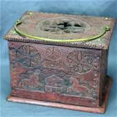 Antique Chip Carved Wooden Box