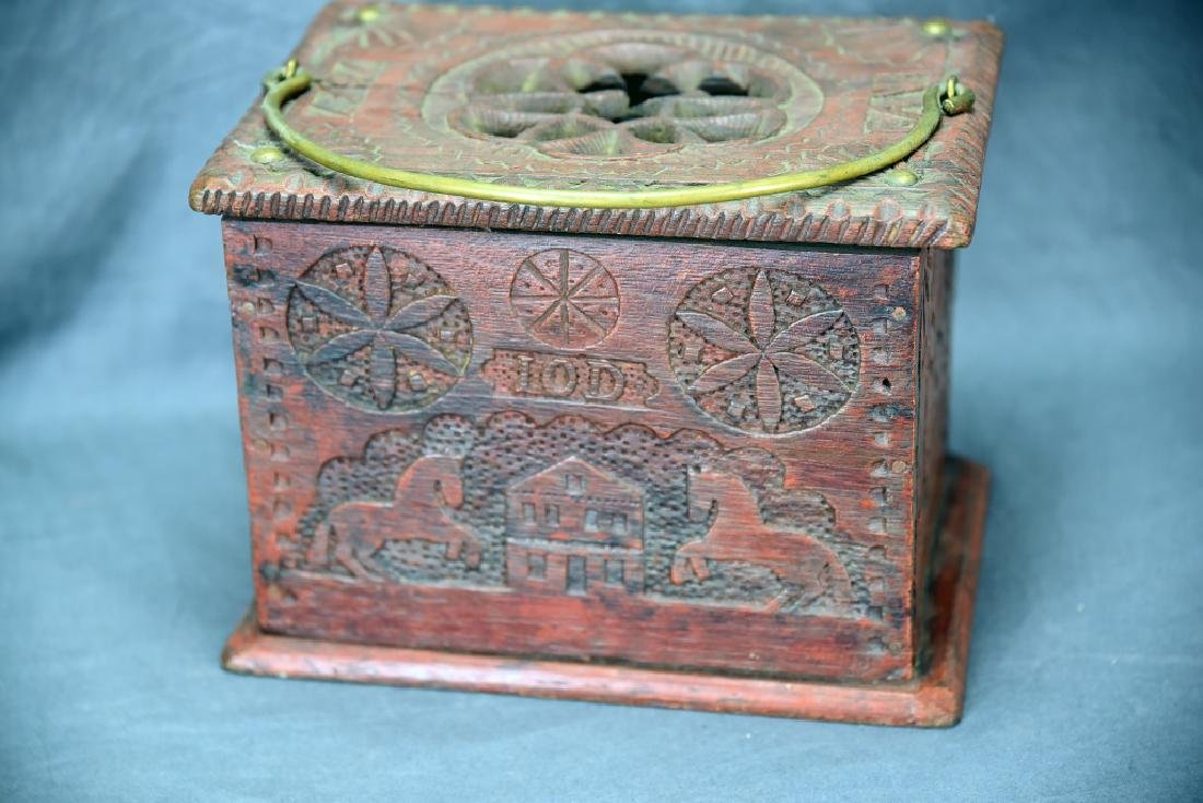 Antique Chip Carved Wooden Box - 2