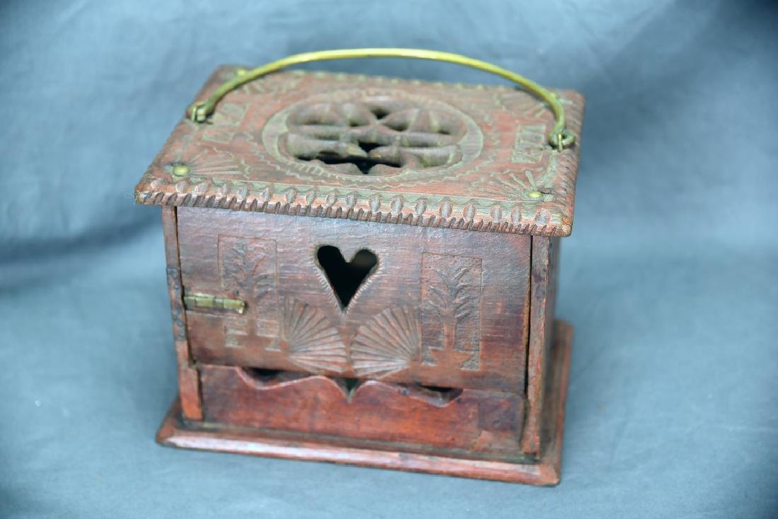 Antique Chip Carved Wooden Box - 3