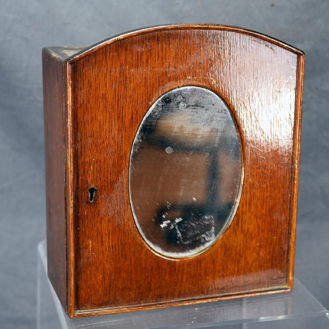 Small Oak Shaving Cabinet with Oval Mirror